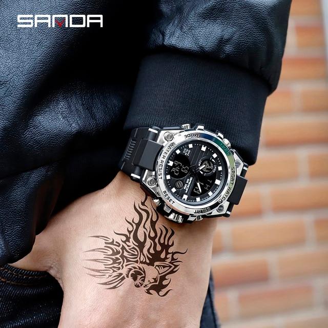 SANDA Top Luxury Watches Men Military Army Mens Watch 3