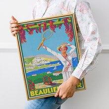 Affiche imprimée publicitaire de motivation française, affiche d'art classique Beaulieu Sur Mer, autocollants muraux publicitaires de sport de Tennis