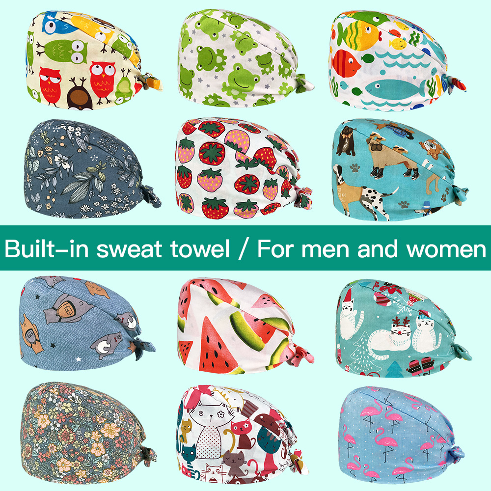 Medical Cotton Nurse Cap Pharmacy Surgical Hat Cartoon Printing Scrub Pet Hospital Doctor Work Cap Nursing Accessories Wholesale