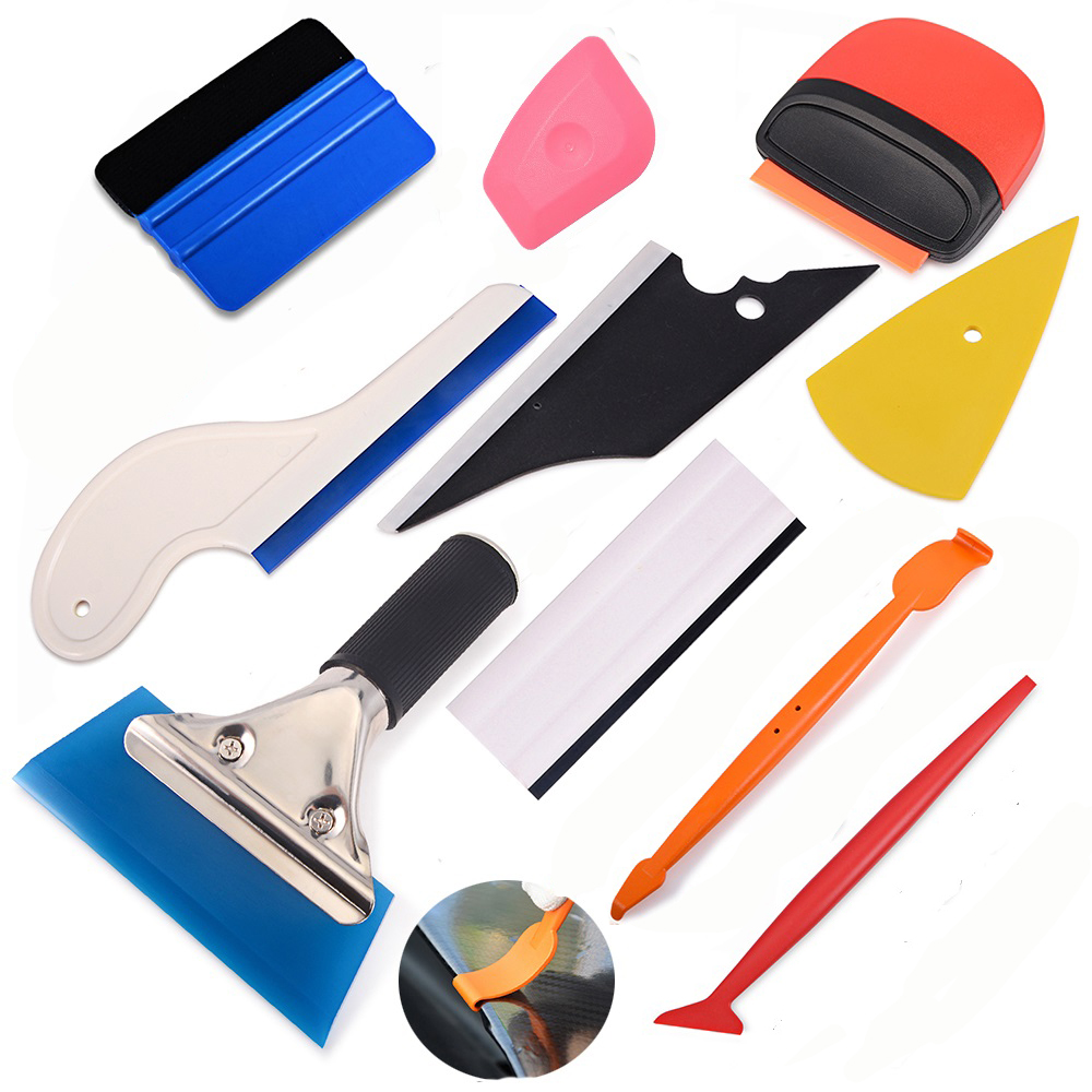 Car Vinyl Wrap Tool 5 Felt Edge Squeegee Carbon Fiber 10 Blades Window Tint Kit