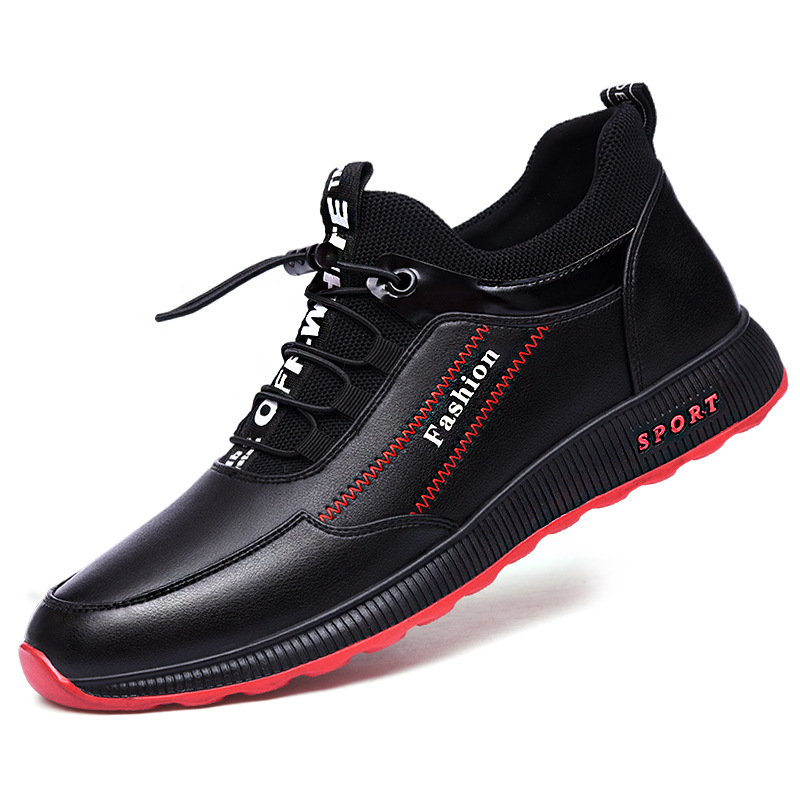 2019 New Autumn And Winter Men Shoes Waterproof Shoes Leather Black Men Soft Face Sports Casual Breathable Running Men Shoes