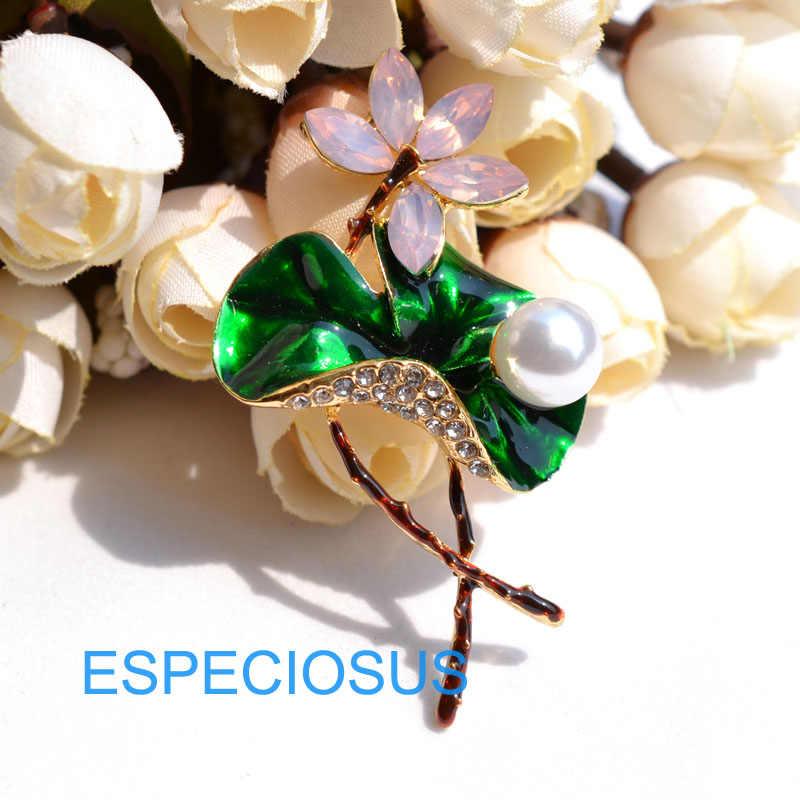 Cina Perhiasan Rhinestone Lotus Bros Kristal Giraffe Pin Wanita Hiasan Bunga Warna Campuran Mutiara Pin Dicat Mantel Pakaian