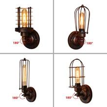 בציר תעשייתי קיר אור, חלודה קיר מנורה, светильник бра, לופט פמוט קיר אור קבועה, 180°Adjustment, אהיל למעלה ולמטה