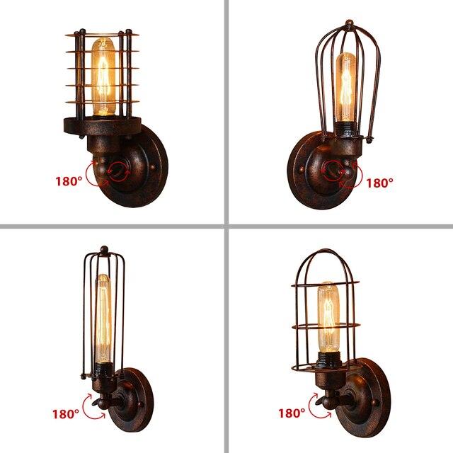Luz de pared Industrial Vintage, lámpara de pared de óxido, echo de moda, accesorios de iluminación para Loft, ajuste de 180 °, pantalla arriba y abajo