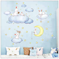 Yhouse Cute Cartoon Wall Sticker Rabbit Star Wall Decor Cloud Kitchen Children Room Stickers Poster Decoration For Kids Supplies