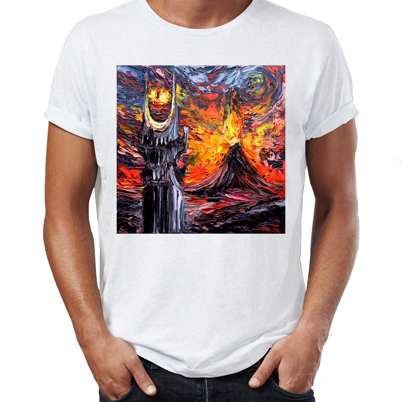 Men's T Shirt Vincent Van Gogh Starry Night The Fellowship Of The Ring Mordor Awesome Artwork Printed Tee