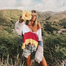 Knitted Sweater Women Multicolor Striped V Neck Long Sleeve Ripped Pullovers Autumn Winter Streetwear Jumpers Pull Femme ripped v neck sweater
