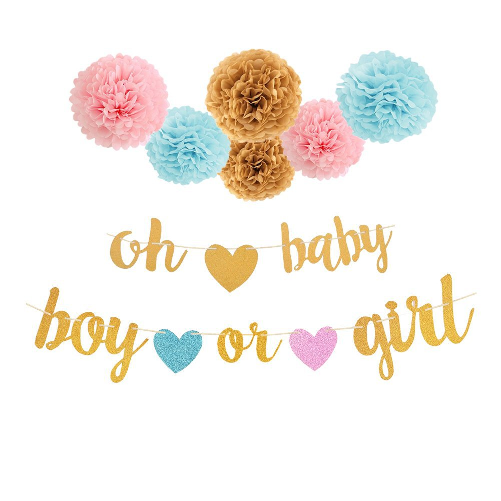 Baby Shower Pink Blue Bunting Boy Or Girl Hanging Supplies Banner Paper Pompom Tissue Flower Gender Reveal Party Decoration