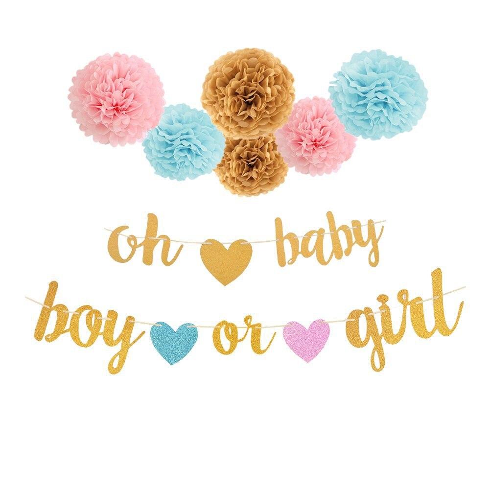 Baby Shower Pink Blue Bunting Boy Or Girl Hanging Supplies Banner Paper Pompom Tissue Flower Gender Reveal Party Decoration