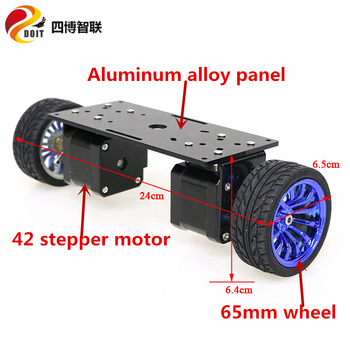 SZDOIT 2WD Metal Balance Smart Car Chassis 2-Wheel Aluminum Alloy Robot Frame 65mm/85mm/130mm Wheel 42 Stepper Motor DIY Toy four wheel drive smart robot car chassis for 4wd yellow black 2 x 18650