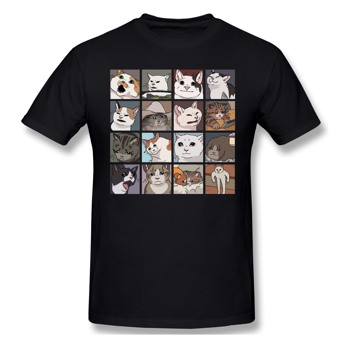 Meme Cats 2.0 T-Shirt Men Birthday Gifts Short Sleeves Funny Tees O Neck 100% Cotton Clothes Humor T Shirt