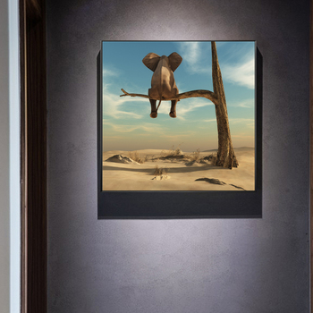 Elephant Sits On Tree Branch Surrealism Painting Printed on Canvas 1