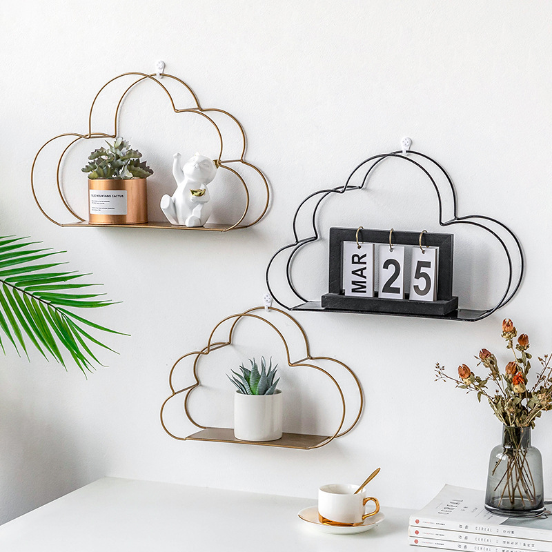 Нордический дизайн в форме облака железные стеллажи для хранения висячие организации настенный цветочный горшок статуэтки дисплей ремесла украшения арт-полки
