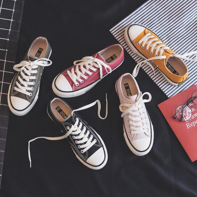 Femme chaussures baskets nouvelle mode femmes chaussures chaussures plates décontracté solide toile classique solide couleur bonbon femmes décontracté baskets