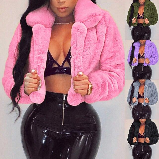 Casual Women Faux Fur Coats Long Sleeve Furry Cropped Jacket Open Stitch Fluffy Overcoat Plus Size XXL Outdoor Wear 1