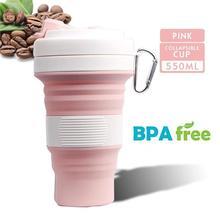 550 мл Складная Силиконовая кружка для воды портативная силиконовая телескопическая Питьевая Складная кофейная чашка Складная силиконовая чашка крышки для путешествий