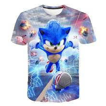 Summer Boys Cartoon Sonic - hedgehog t shirt Blue 3D Printed Girls Streetwear Children Kids Clothes Baby Funny Tshirt O-Neck