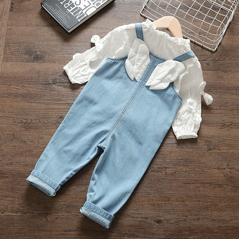 High Quality Newborn Baby Girl Clothes Outfits Sets Fashion Top + Strap Jeans Suit For Infant Baby Girl Clothing Birthday Sets