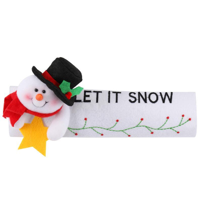 Рождественское украшение на холодильник, дверная ручка, крышка Санта Клауса, снеговика, лося, нетканый материал, для дома, новогодние украшения, подарок - Цвет: Snowman