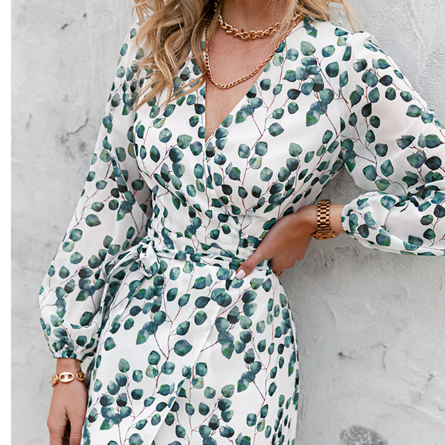 Sexy Summer Dress 2021 Women Spring Summer Long Sleeve Print A-line Women's V-neck Print Slim Dresses Vestidos Robe Female  2