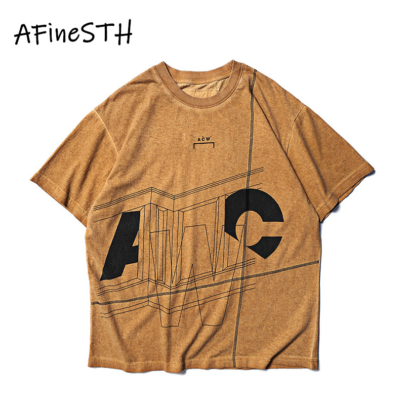 AFineSTH Geometric Patterns Man T shirt O neck Summer Short Sleeve T shirt 2019 Man Clothes Hip Hop Streetwear Loose Vintage
