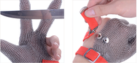 Three digits protection! stainless steel mesh safety gloves three finger metal mesh gloves