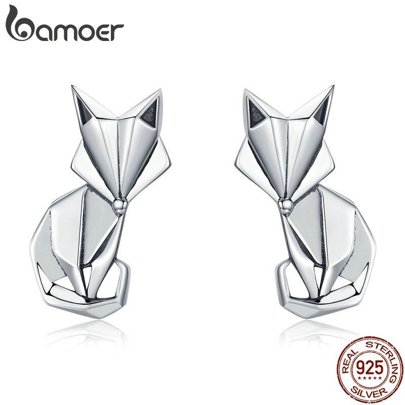BAMOER Hot Sale Genuine 925 Sterling Silver Fashion Folding Fox Animal Stud Earrings for Women Sterling Silver Jewelry SCE526(China)