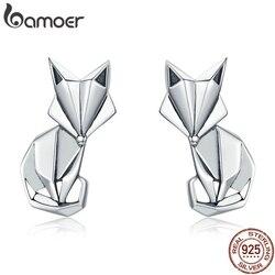 Bamoer venda quente genuíno 925 prata esterlina moda dobrável raposa animal parafuso prisioneiro brincos para mulher prata esterlina jóias sce526
