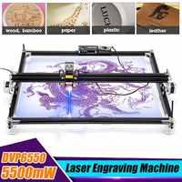 12V Mini 5500mW 65*55cm bleu CNC Laser Machine de gravure 2 axes bricolage maison graveur bureau bois routeur/Cutter/imprimante Machine-outil