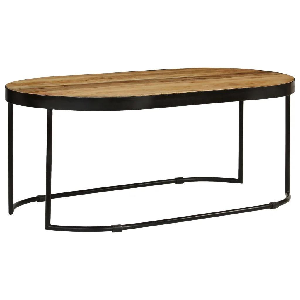 VidaXL Coffee Table Oval Solid Rough Mango Wood And Steel 100cm 246626
