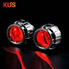 2Pcs 2,5 Zoll H1 Bi xenon HID Projektor Objektiv Shroud Dämon Augen Fit H1 Xenon LED Bulb Retrofit h4 H7 Motorrad Auto Scheinwerfer