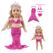 New doll accessories mermaid swimwear + crown headdress underwear for 18-inch and 43 cm baby born, generation, gift