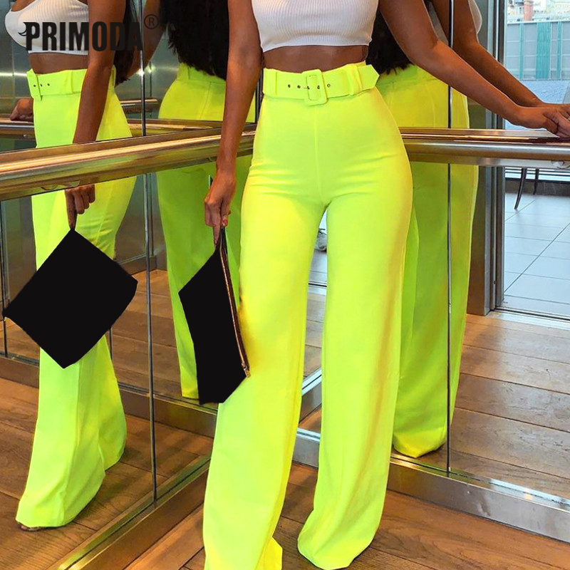 2019 Autumn New Straight   Pants   Neon Women   Wide     Leg     Pants   Sexy Club Festival Party Trousers Zipper Fly Sashes Long   Pant   GV662
