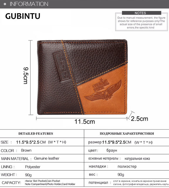 Hf92437f58e594ca9931f58361f71d77b9 - GUBINTU Genuine Leather Men Wallets Coin Pocket Zipper Real Men's Leather Wallet with Coin High Quality Male Purse cartera