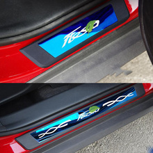 цена на Car Styling Sticker Door Sill Protector Protection Scuff Plate Car Accessories 4pcs For Ford Fiesta 2012-2018 Accessories