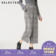 SELECTED Women's Winter Wide-leg Black and White Checks Crop Pants S|418414544(China)
