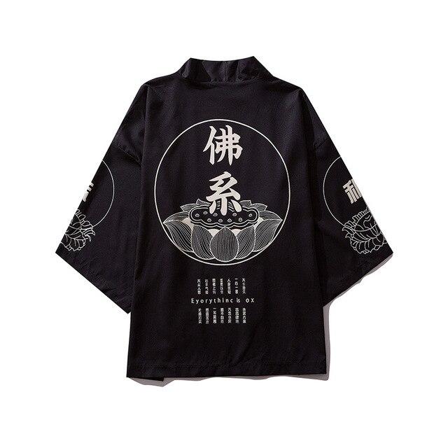 851.89руб. 33% СКИДКА|Мужской кардиган с принтом, кардиган, рубашка, блузка, Yukata, мужская одежда Haori Obi, одежда самураев, японское кимоно для мужчин|Халаты| |  - AliExpress
