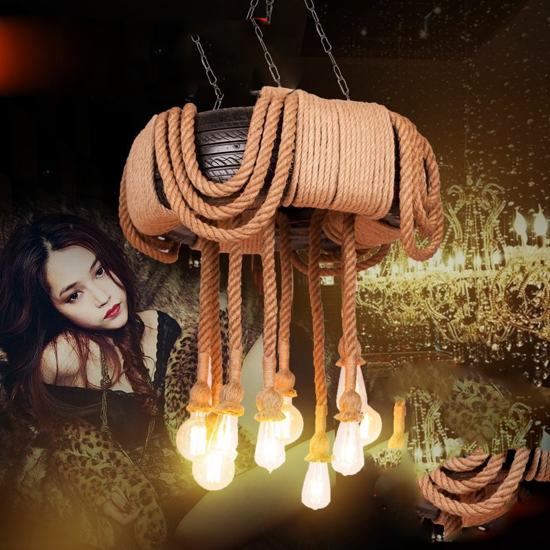 Lámpara de techo personalizada luces colgantes nórdico Retro Ropa creativa cafetería para comprar cuerda de cáñamo - 5