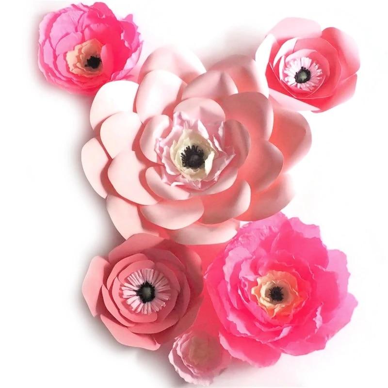 2018 Unik Pink Raksasa Karton Bunga Kertas Krep 6 Pcs Pernikahan Acara Dekorasi Kamar Bayi Jendela Tampilan Campuran Ukuran 10 50 Cm Paper Flowers Crepe Paper Flowersflower Flower Aliexpress