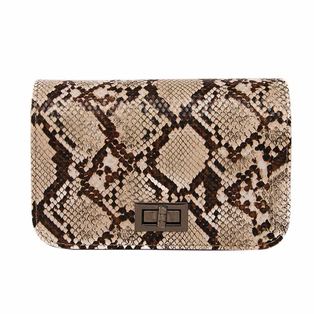 25 # 高級ハンドバッグ女性のバッグデザイナー蛇行小さな正方形クロスボディバッグ野生の少女ヘビプリントショルダーメッセンジャーバッグ