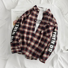 2019 New Spring and Autumn Trend Plaid Shirt Male Hip Hop Leisure Loose Letter Printing Lapels Long Sleeve Shirt Men Coat 50CS fashion spring and autumn color letter printing men s long sleeve t shirt