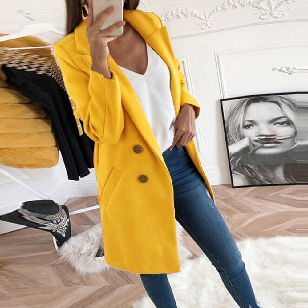 Autumn Winter Turn-down Collar Long Sleeve Single-Breasted Wool Coat Women Elegant Slim Pocket Thin Long Fleece Blend Coat S-5xl