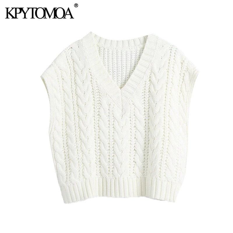 KPYTOMOA-suéter tejido tipo chaleco para mujer, suéter tejido tipo Chaleco de gran tamaño a la moda, con cuello de pico Vintage, sin mangas, Tops elegantes, 2020