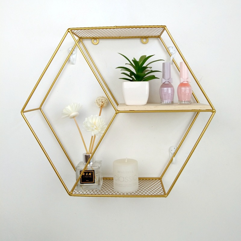 Living Room Geometric Shelves Nordic Style Creative Wall Decoration Metal Shelf Round Hexagon Storage Holder Rack Shelves