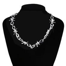 Punk Style Thorns Unisex Choker Necklace Harajuku Streetwear Barbed Wire Brambles Flame Padlock Pendant Metal Jewelry