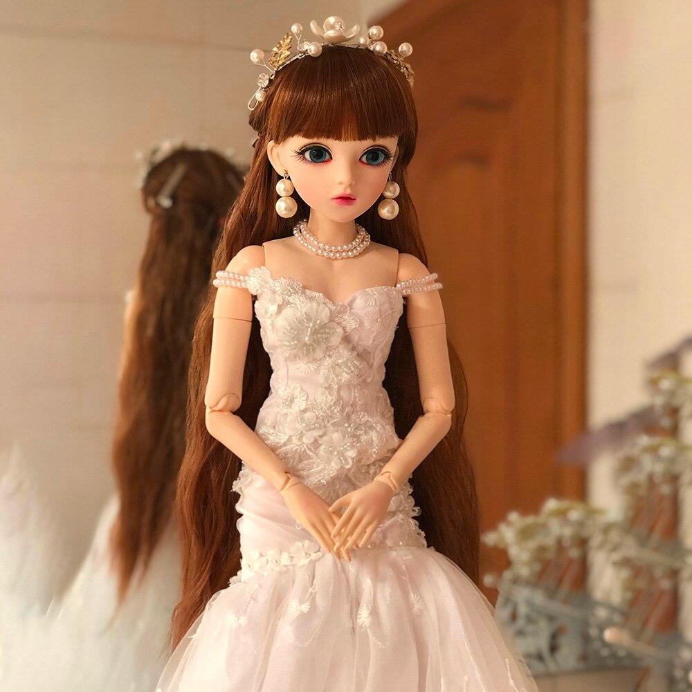 1/3 Bjd poupée 60cm 18 balle articulée poupée oculaire vert avec robe de mariée blanche élégante mariée Reborn poupée jouet pour nouveau cadeau de mariage