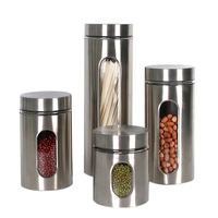 4 Pcs Stainless Steel Canister Set Visible Storage Tanks Sealed Cans Multi Grain Cans Tea Cans Food Storage Cans Kitchen Supplie