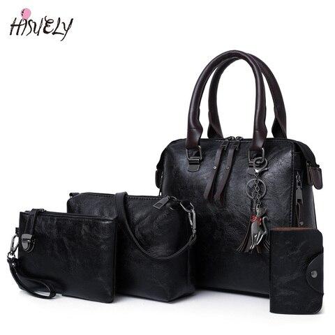 4 pcs sets wax oil leather bag ladies handbags women designer shoulder bag tassel high quality famous sac a main bolsa feminina Karachi