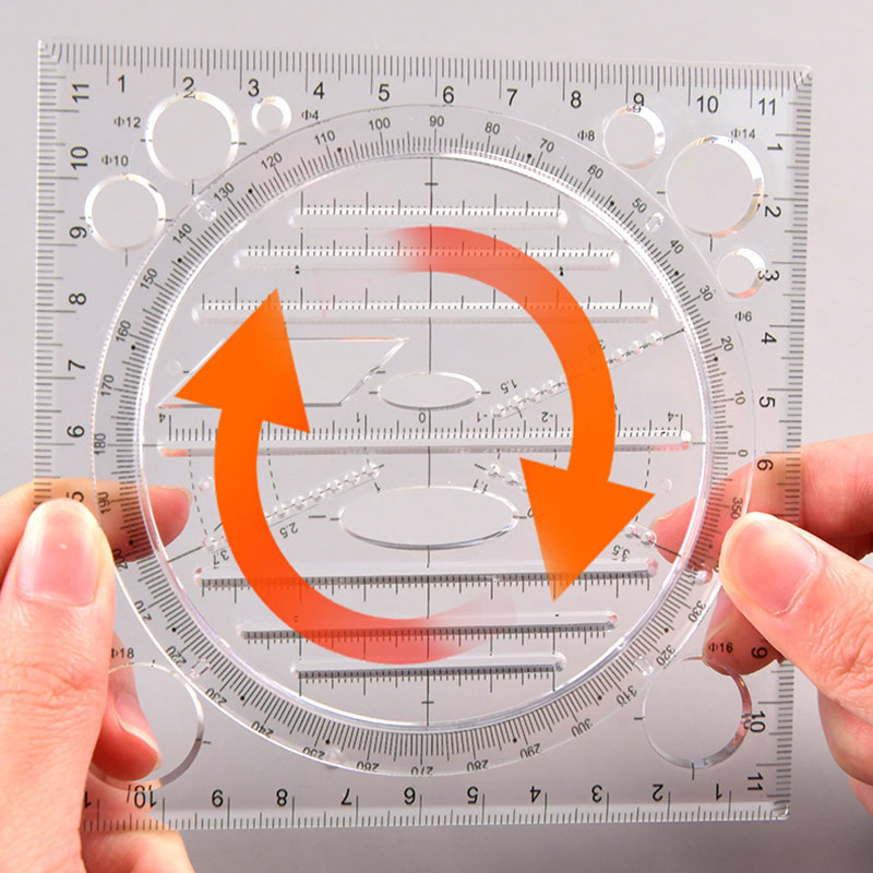 Multifunctional Drawing Template Art Design Construction Architect Stereo Geometry Ellipse Drafting Scale Ruler Measuring Tool