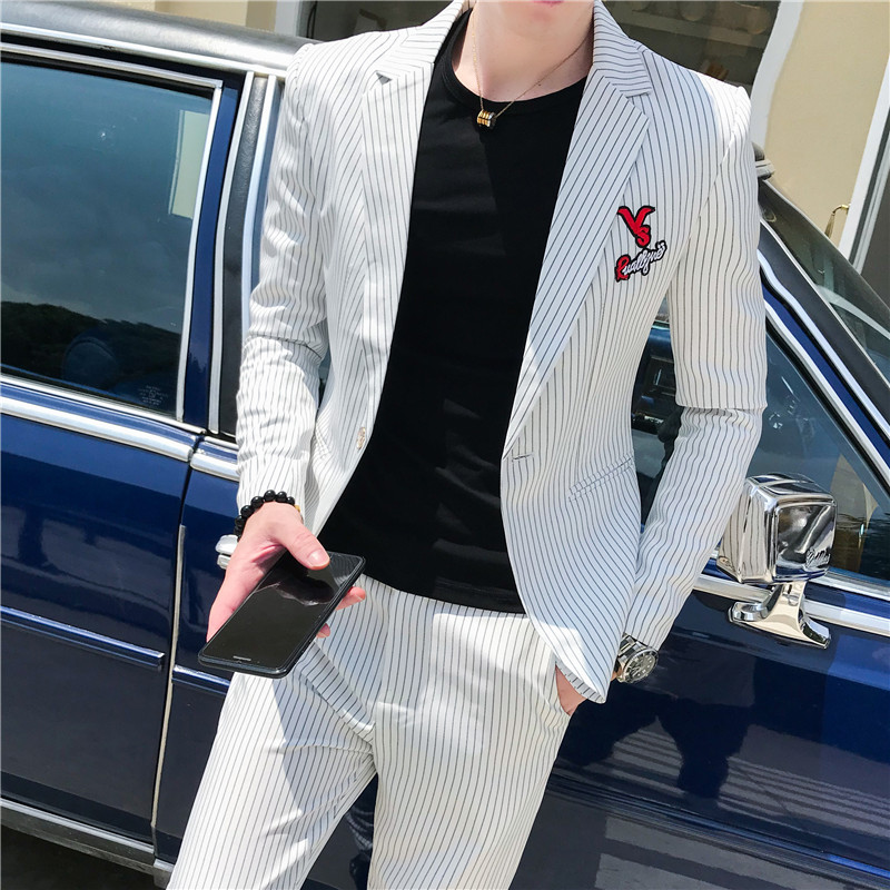 High Quality Business Men Suit Classic Simple Striped Suits For Men Fashion Embroidery Slim Fit Formal Wear Suits With Pants 3XL